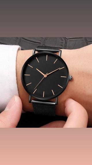 Relógio Moderno Quartzo Feminino, Pulseira De Aço Inoxidável