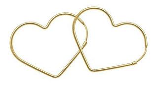 Brinco Argola Coração Grande Folheado A Ouro 18k Garantia