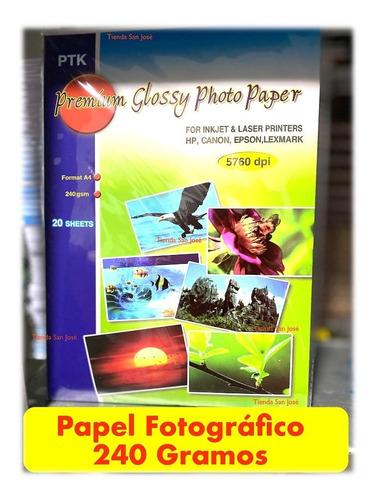 Papel Fotográfico Grueso 240 Gramos Paquete X 20 Hojas