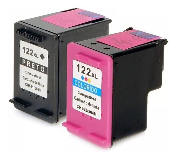 Kit Cartuchos 122 Xl Colorido + 122 Xl Preto Compativel 25ml