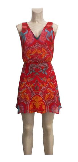Vestido Corto Rojo Estampado