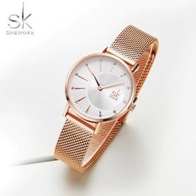 Relógio Feminino Dourado Sk Shengke Luxo Resistente A Água