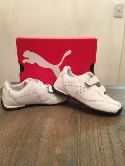 Zapatillas Niña Cuero Blancas Puma