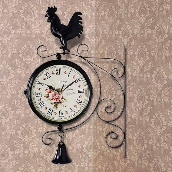 Reloj De Pared Doble Vista Para Interiores O Exteriores