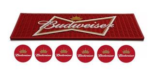 Kit Bar Mat Budweiser + 6 Porta Copos Pub Decoração