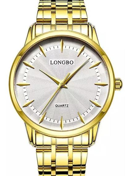 Relógio Masculino Clássico Dourado Longbo Original