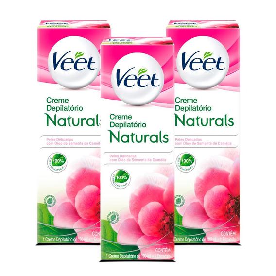 Depilação Veet Creme Depilatório Naturals Camélia - 3 Unid