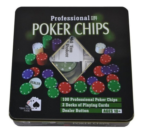 Juego De Poker Profesional 100 Fichas Poker Chips