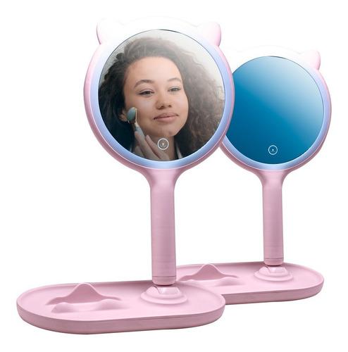 Espejo Luz Led Smart Desmontable Gatito Maquillaje Carga Usb