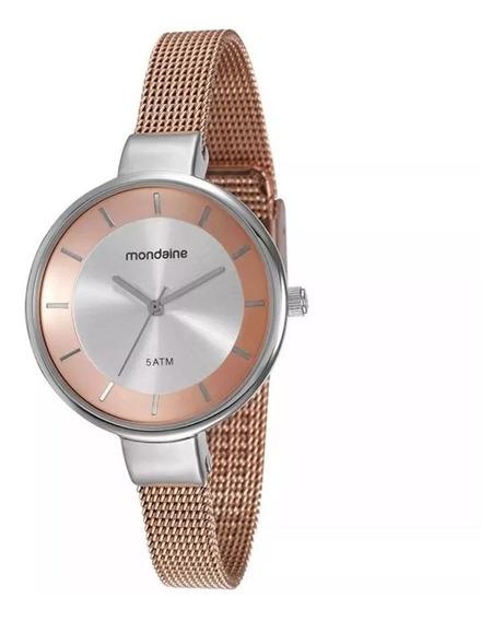 Relógio Mondaine Feminino Rose/prata Esteira 76597lpmvge4
