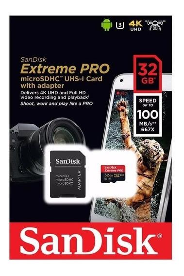 Cartão Microsd 32gb Extreme Pro Sandisk 100mb/s 4k Samsung Galaxy S8 S9 S10 Motorola Drone Mavic Pro Gopro Hero Lacrado