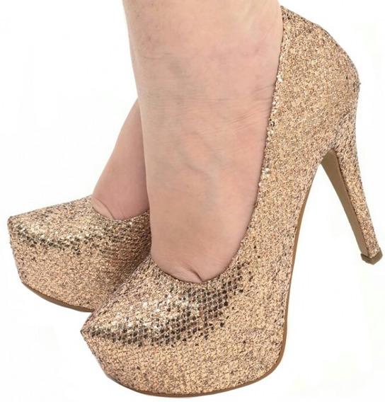 Sapato Scarpin Meia Pata Noiva Salto Fino Prata Ouro Glitter