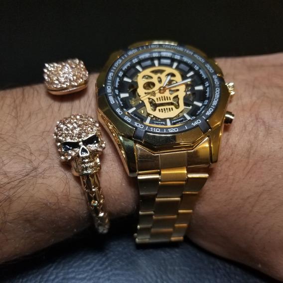 Reloj Mecanico Skull Calavera Skeleton + Pulsera Double 2