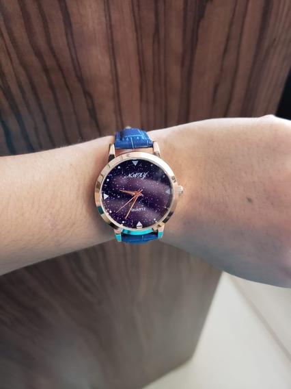 Oferta Relógio Nary Azul Feminino Pulseira Em Couro