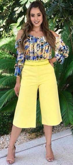 Calça Pantacourt Amarela Cos Elastico Tam 38