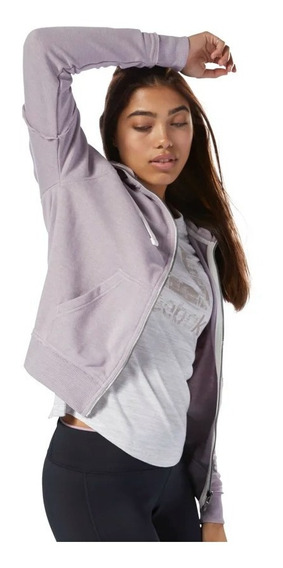 Buzo Reebok Mujer Training Essentials Marble Logo Full Zip