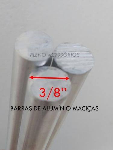 4 Barras Aluminio Maciça 3/8 Apoio Churrasqueira 90cm