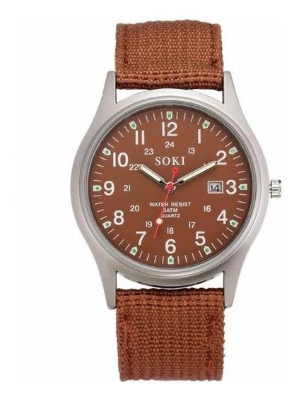 Reloj Militar Acero Cuarzo Marca Soki Color Café Lona