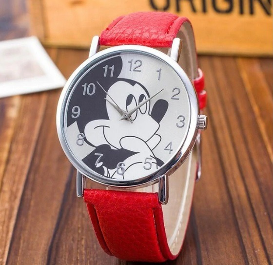 Relógio Mickey Mouse Feminino Infantil Brinde Bateria Extra
