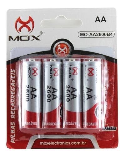 Imagem 1 de 1 de 4 Pilhas Recarregável Mox Aa 2600 Pilha Pequena