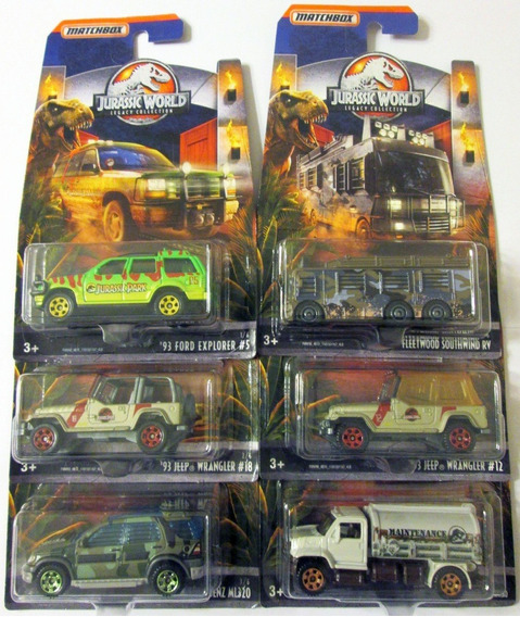 Matchbox Jurassic World Set Completo De 6 Carros E:1/64