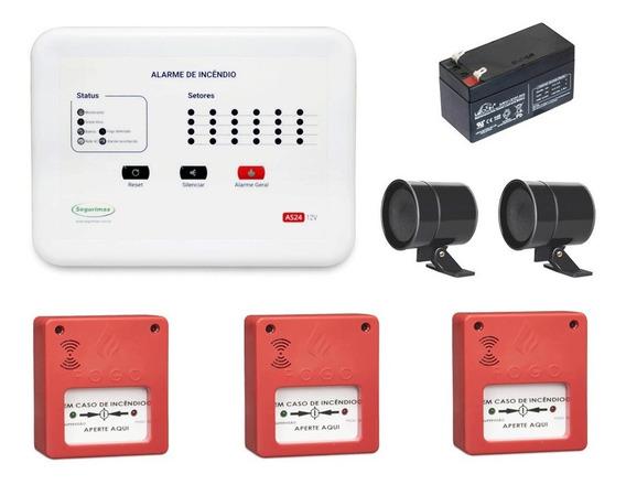Kit Central Alarme Incêndio 6 Setor + 3 Acionador + 2 Sirene