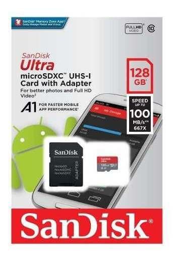 Memória Card Micro Sd 128gb Sandisk Ultra 80 Mb/s 533x !
