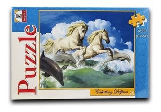 Rompecabezas Puzzle Caballos Y Delfines 500 Piezas