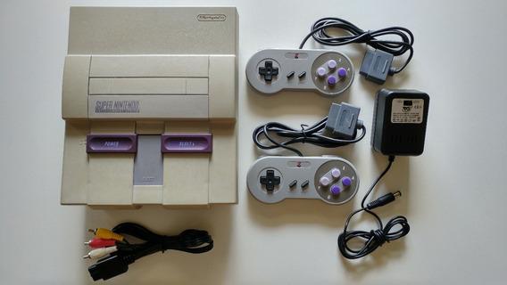 Super Nes Console + Cabos + 2 Controles Console Super Nes