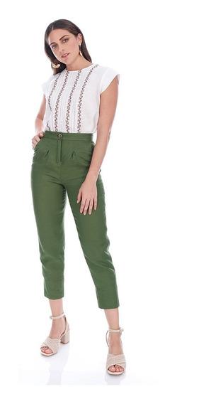 Abito Pantalón De Lino Para Dama Color Verde Mod. Oumy