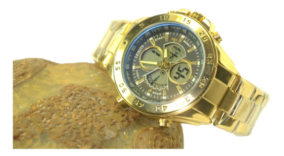 Relógios De Pulso Masculino Analógico Digital Dourado