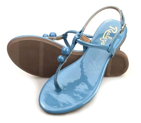 Sandália Flats Feminina Rasteirinha Bolinhas Verniz Azul