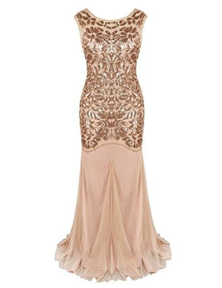 Vestido Largo Década 1920s Con Lentejuela Talla M Kayamiya 2