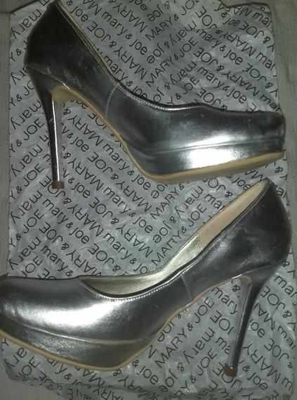 Zapatos Fiesta Stileto 100% Cuero Plateados 36 Mery&joe Nuev