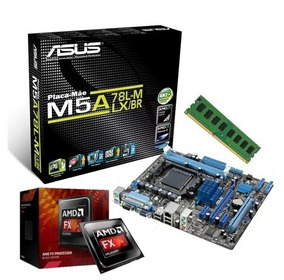 Combo Pl Mãe Asus M5a78l-m Lx/br + Fx 6300 + Mem 4gb Ddr3