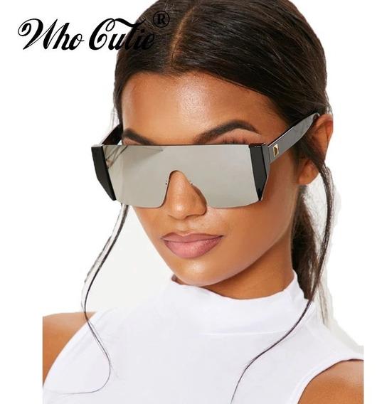 Óculos De Sol Futurista Cinza Espelhado Uva Uvb C3