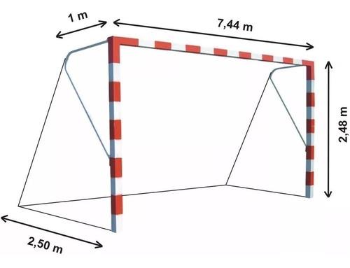 Imagen 1 de 9 de 2 Redes Arcos Futbol 11 Trapezoidal 7,44x2,45.m Hilo 2,8.mm