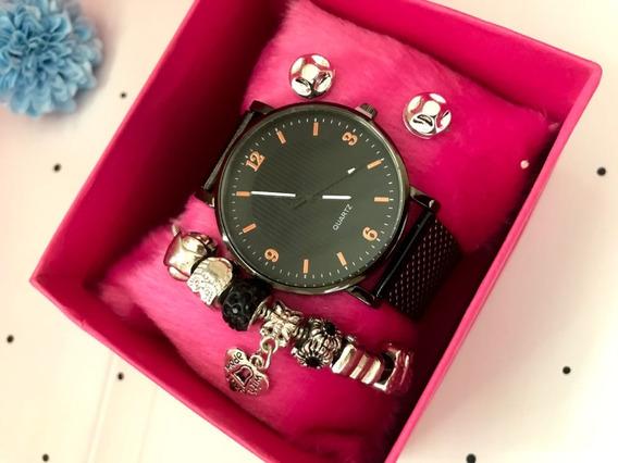 Kit Relógio Pulseira Feminino Presente Dia Dos Namorados