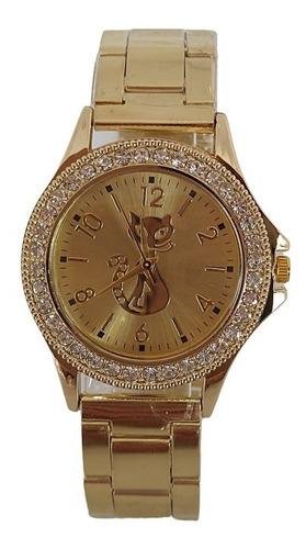 Relógio Feminino Dourado Brilhante Gatinho Gato Delicado