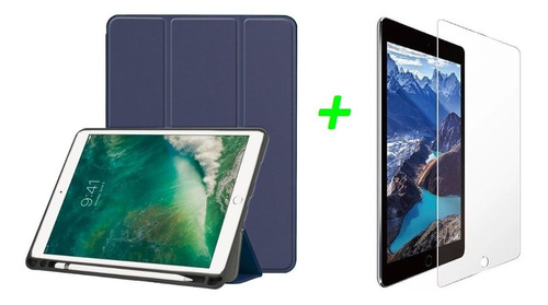 Estuche Smart Case iPad 10.2 7 Gen Espacio Lapiz + Vidrio