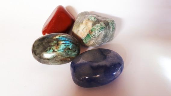 Lote 04 Pedras Labradorita Esmeralda Quartzo Azul 309g 5cm