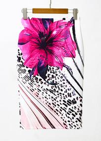 Falda Lápiz Mujeres Impresión Floral Cintura Alto Divisió