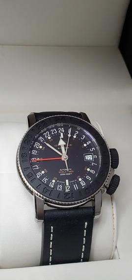 Relógio Glycine Airman 17 Gmt Preto Super Raro Original