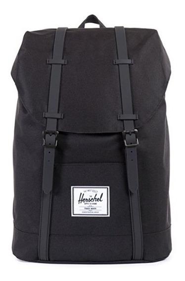 Mochila Herschel Hombre Negra Porta Notebook 100% Original