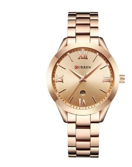 Relógio Feminino Luxo Original Curren Aço Inox Moda Barato