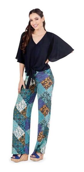 Pantalón Palazzo Para Dama Multicolor Moda Casual