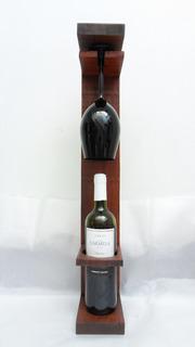 Vinoteca De Madera. Rustica. Para Colgar- P/ Copa Y Botella