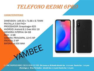 Telefono Redmi 6 Pro 4gb De Ram + 64 Gb De Memoria Interna