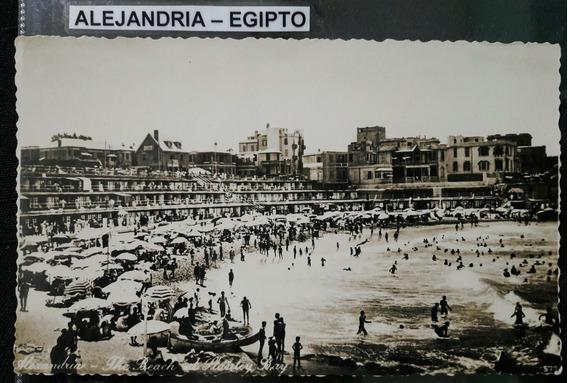 Antigua Postal De La Playa De Alejandría Egipto