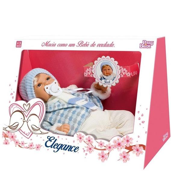 Boneca Bebê Jack Menino 40 Cm Elegance Baby Novabrink